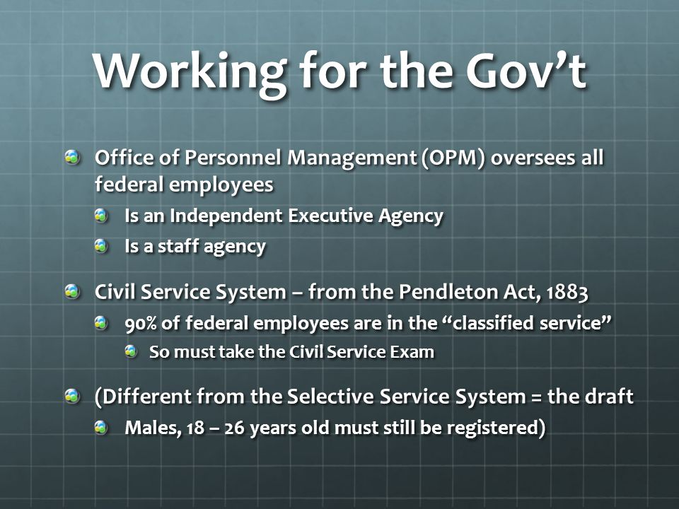Working for the Gov't Office of Personnel Management (OPM) oversees all federal employees. Is an Independent Executive Agency.