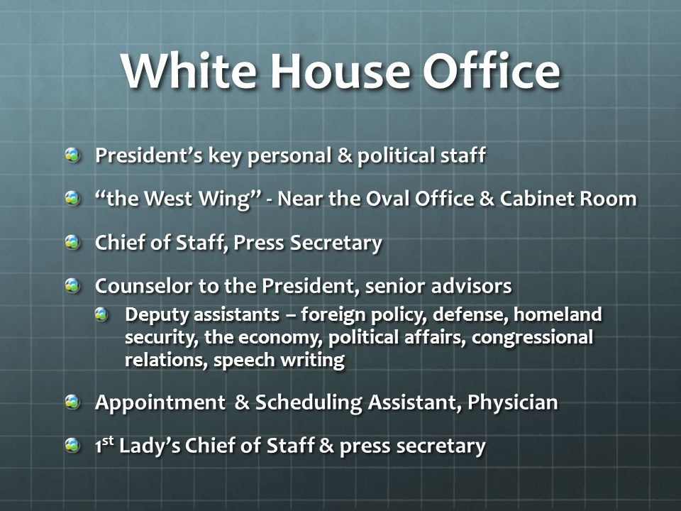 White House Office President's key personal & political staff