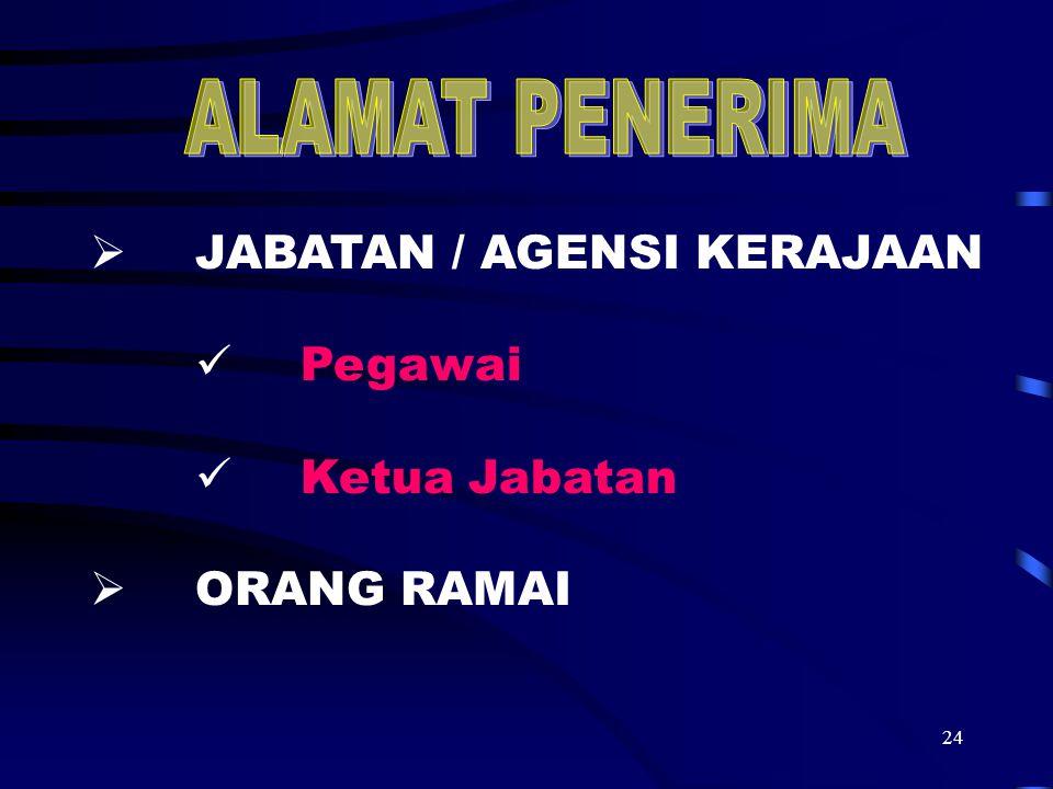 ALAMAT PENERIMA JABATAN / AGENSI KERAJAAN Pegawai Ketua Jabatan