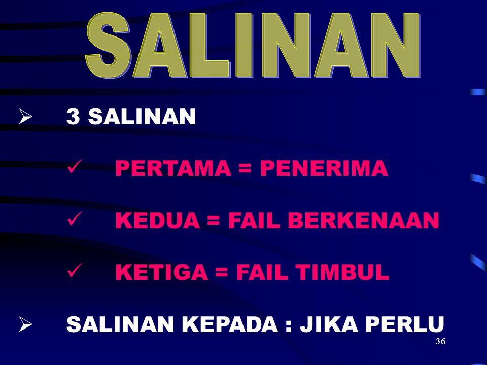 SALINAN 3 SALINAN PERTAMA = PENERIMA KEDUA = FAIL BERKENAAN