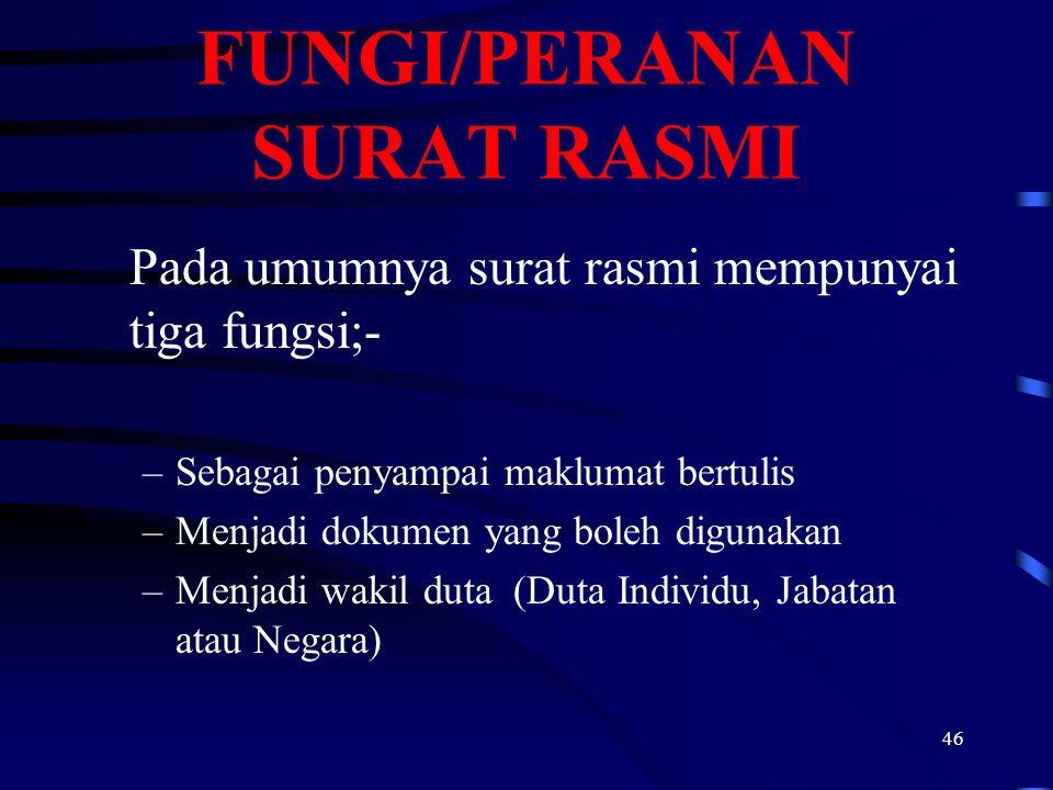 FUNGI/PERANAN SURAT RASMI
