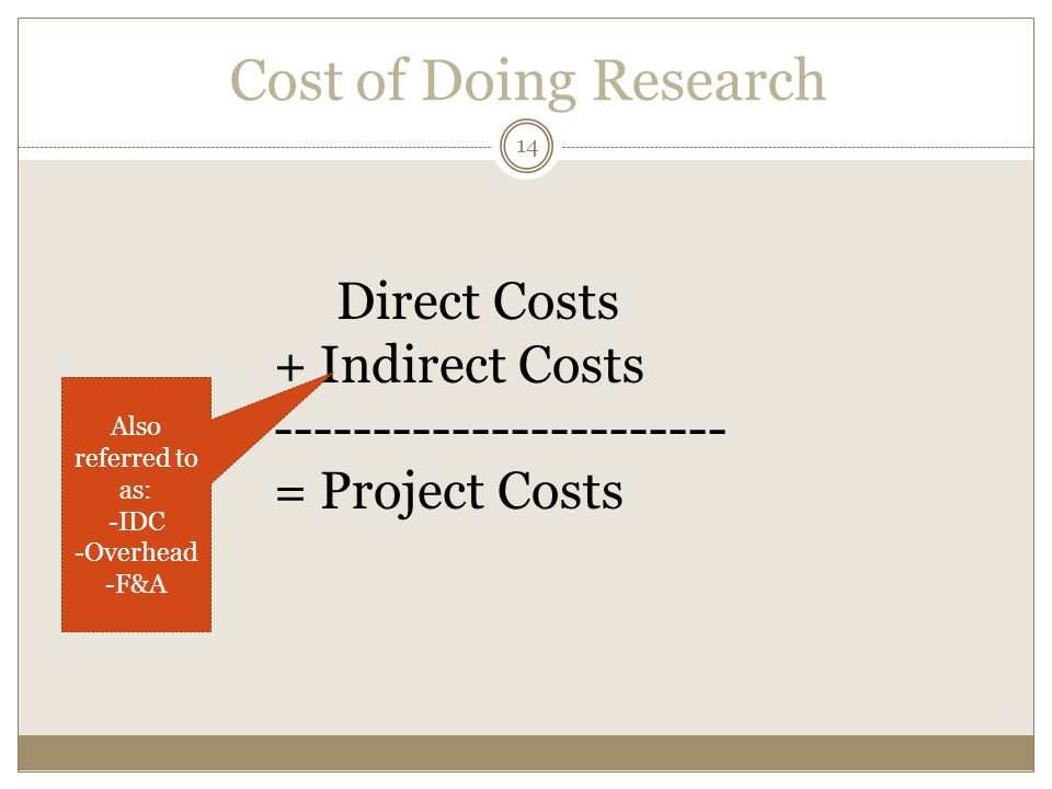 Cost of Doing Research 14. Direct Costs + Indirect Costs ----------------------- = Project Costs.