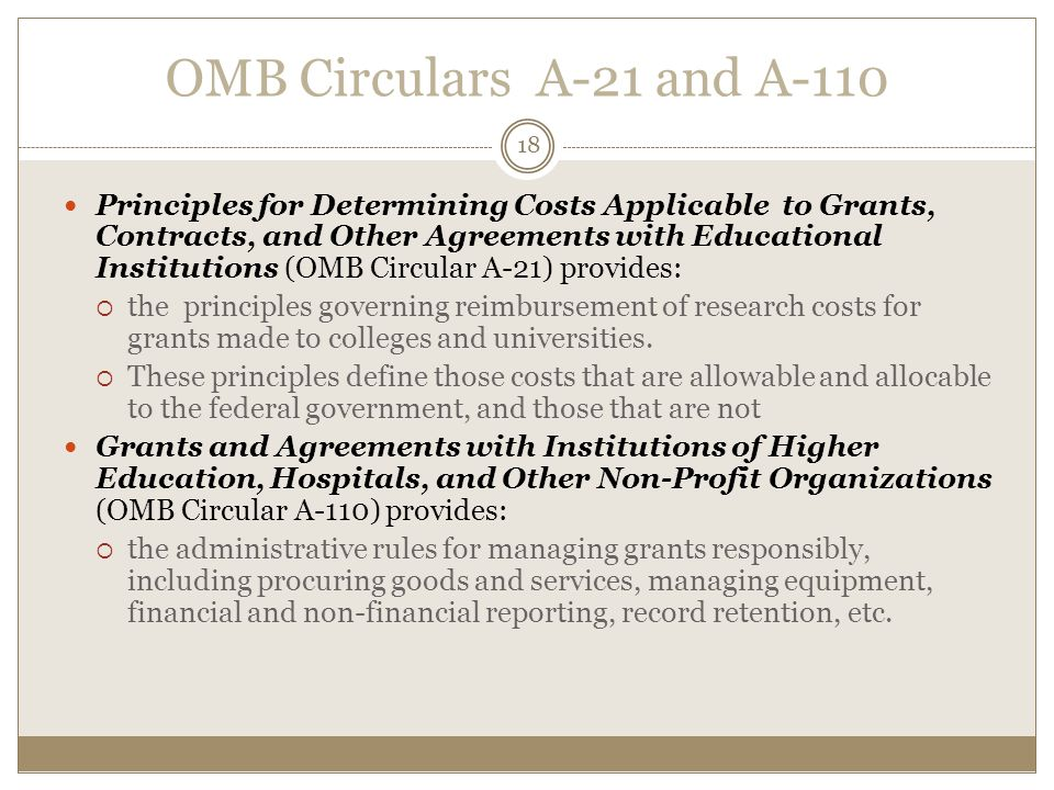 OMB Circulars A-21 and A-110