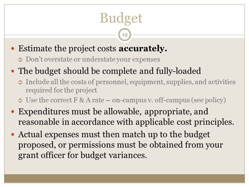 Budget Estimate the project costs accurately.