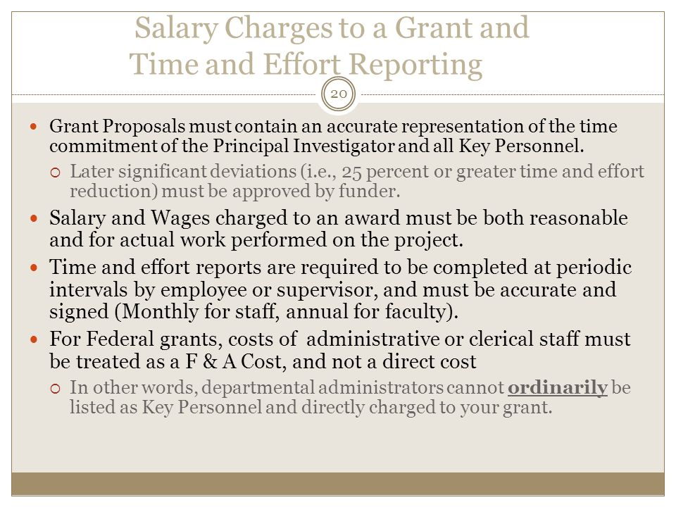 Salary Charges to a Grant and Time and Effort Reporting