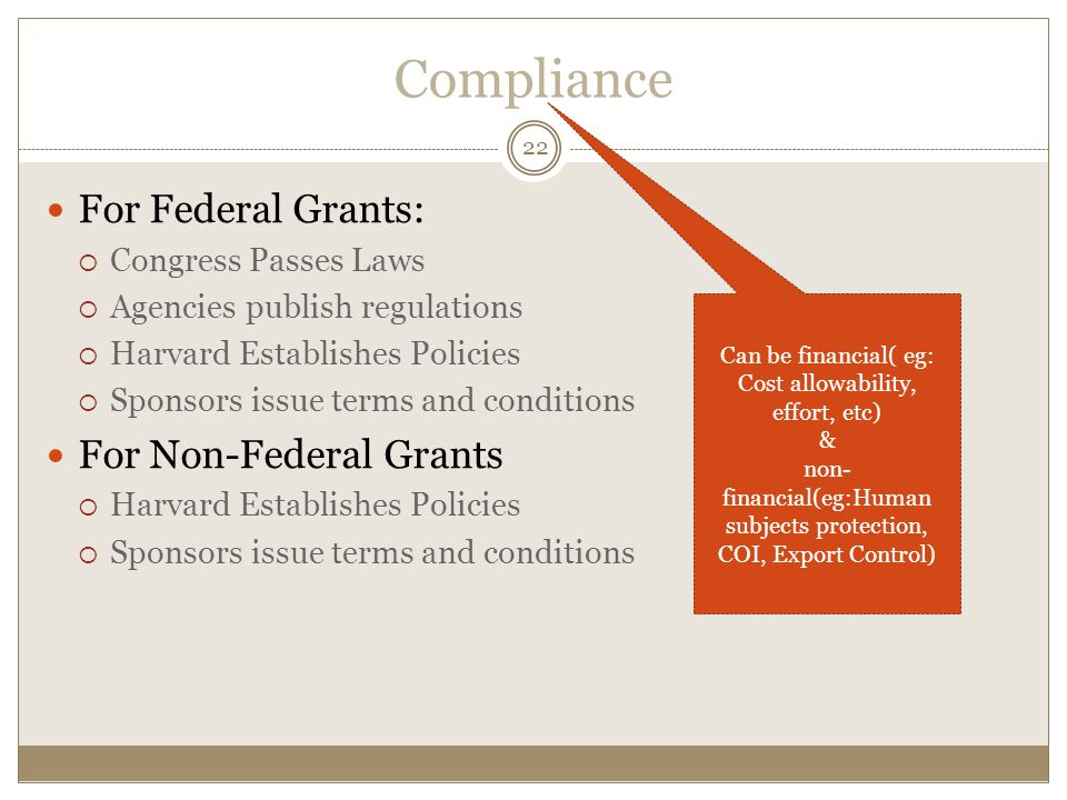 Compliance For Federal Grants: For Non-Federal Grants