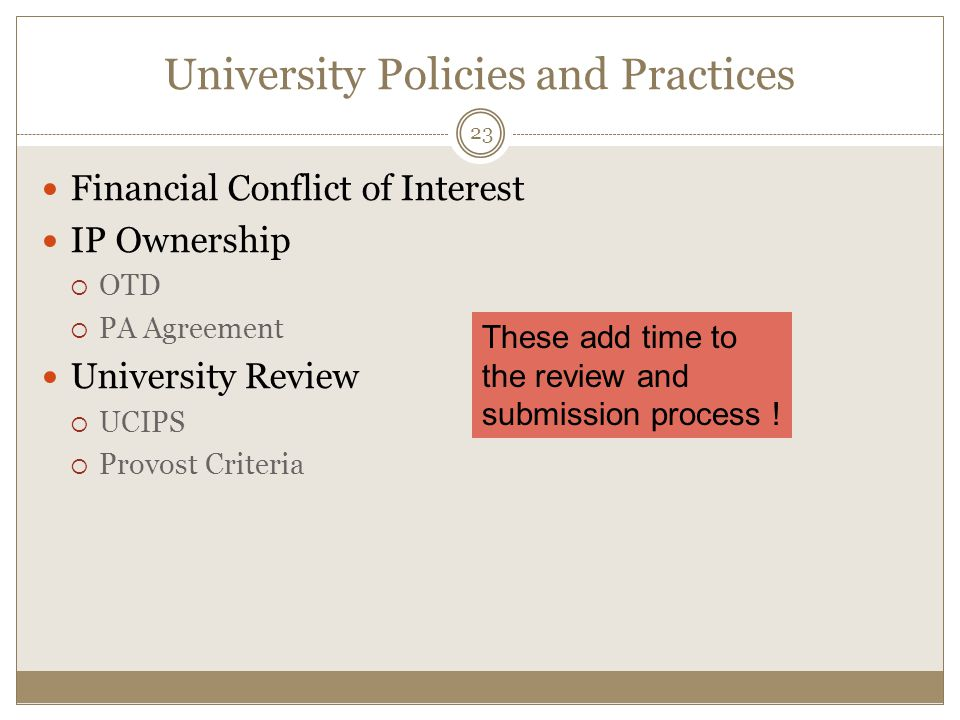 University Policies and Practices