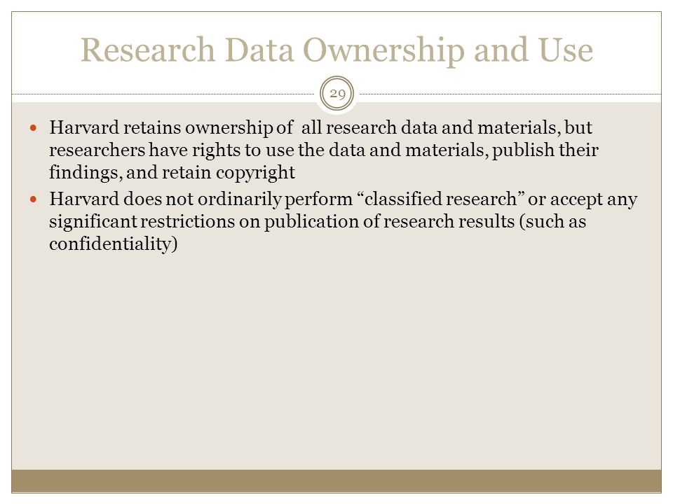 Research Data Ownership and Use