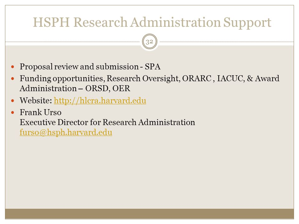 HSPH Research Administration Support