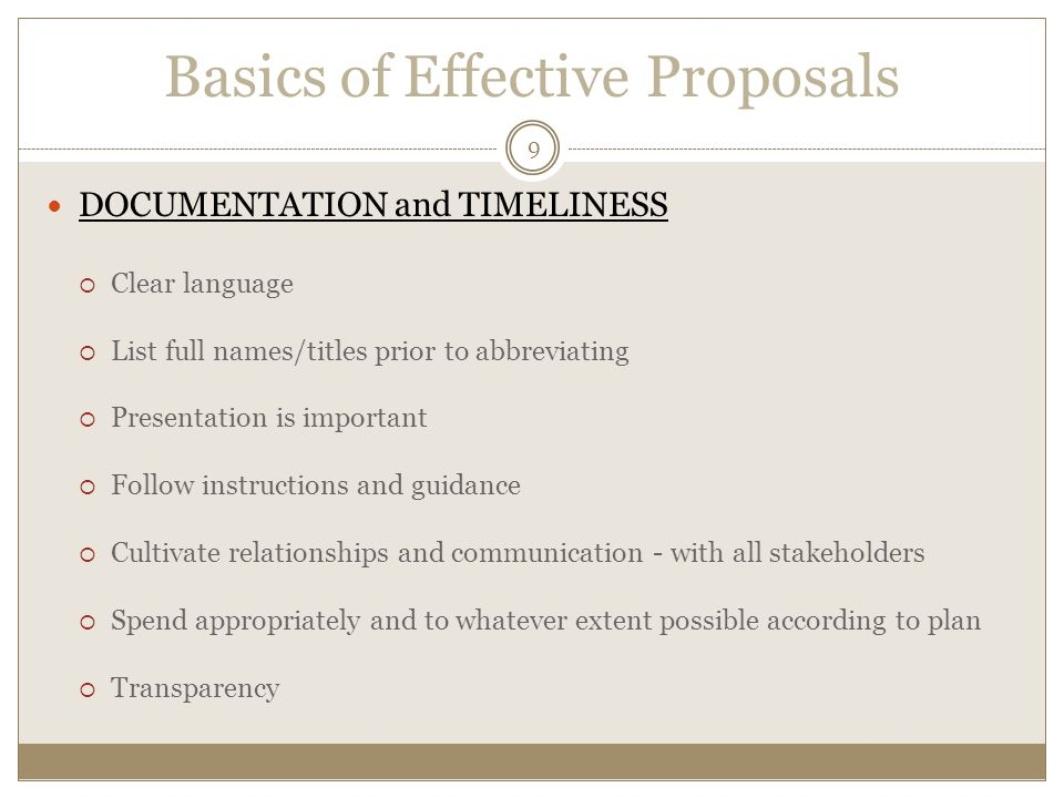 Basics of Effective Proposals