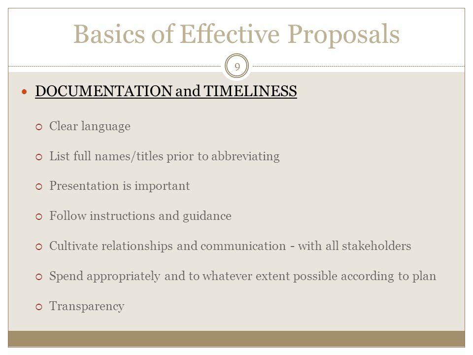 Basics of Effective Proposals