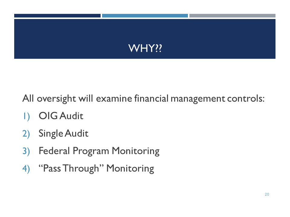 WHY All oversight will examine financial management controls:
