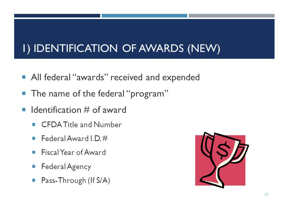 1) Identification of Awards (New)