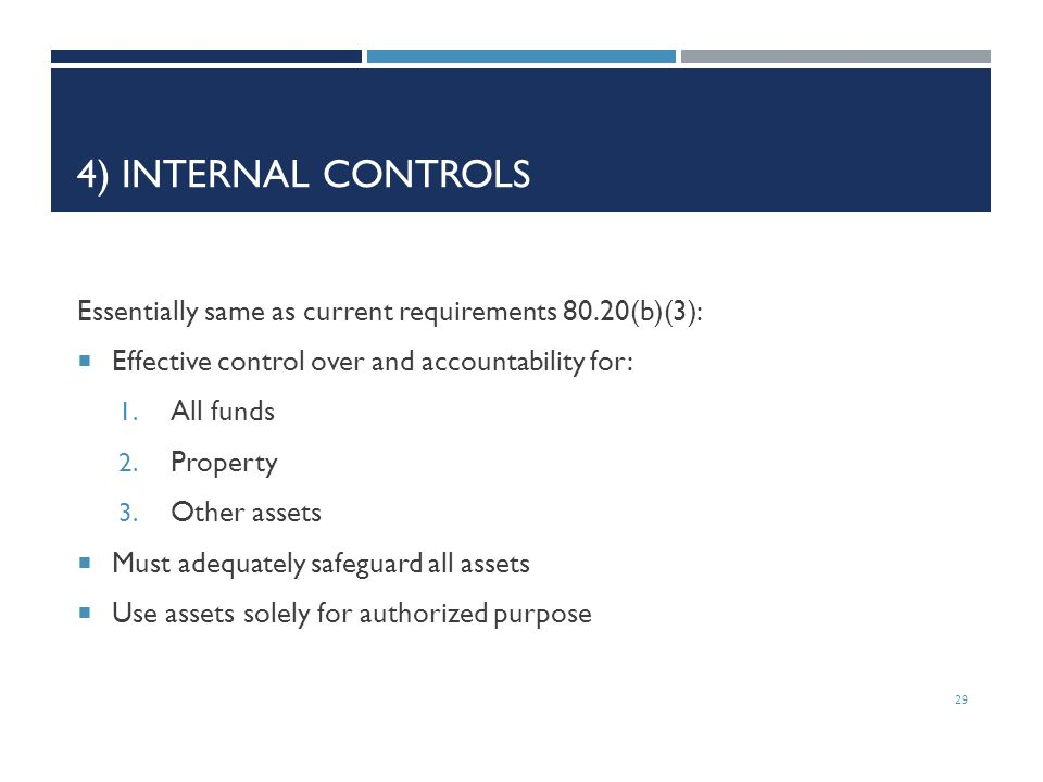 4) Internal Controls Essentially same as current requirements 80.20(b)(3): Effective control over and accountability for: