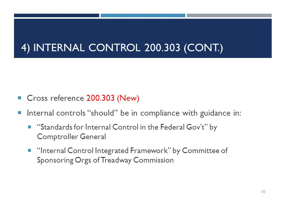 4) Internal Control 200.303 (cont.)