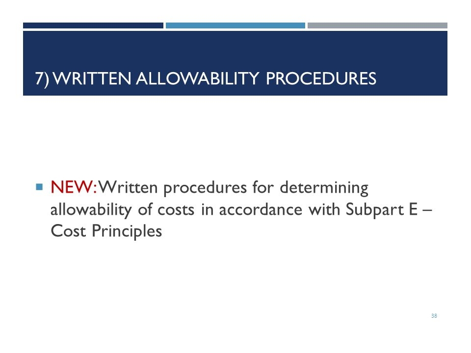 7) Written Allowability Procedures