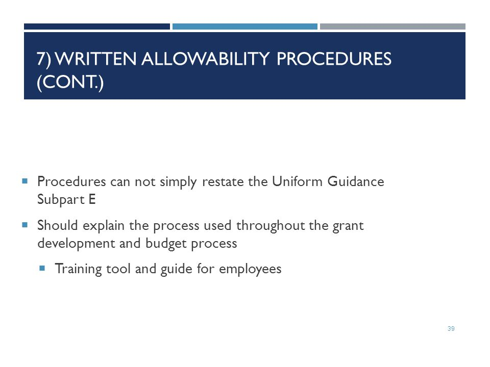 7) Written Allowability Procedures (Cont.)