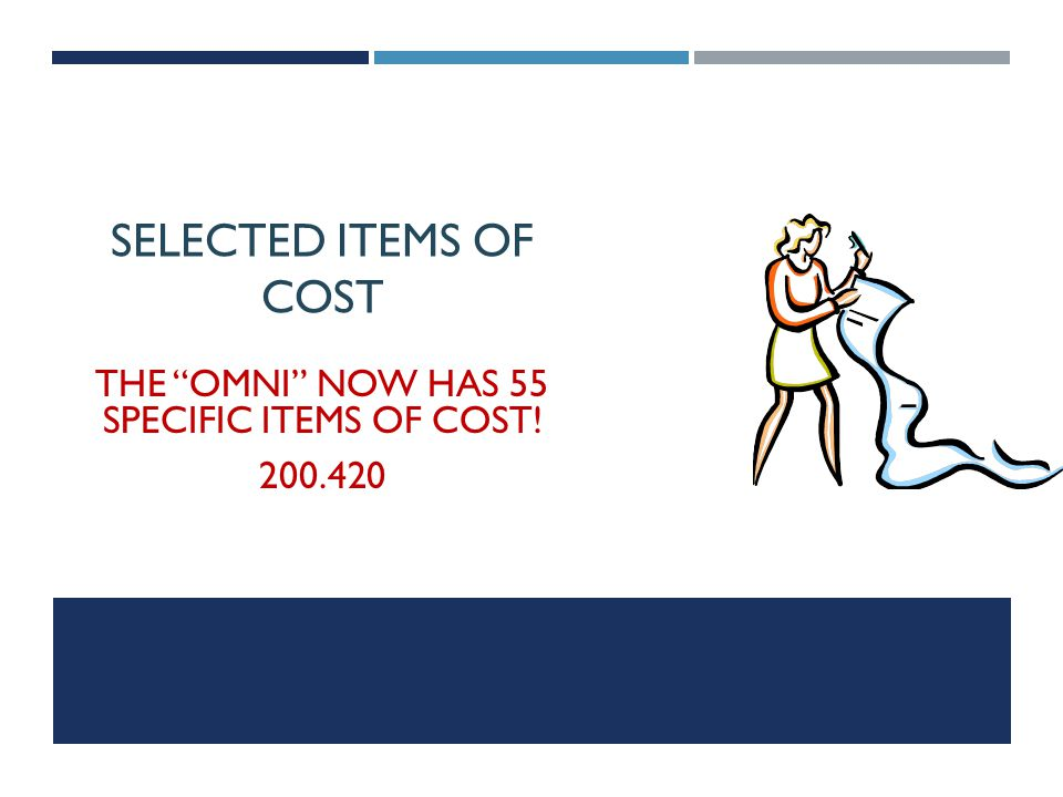 The Omni now has 55 specific items of cost!