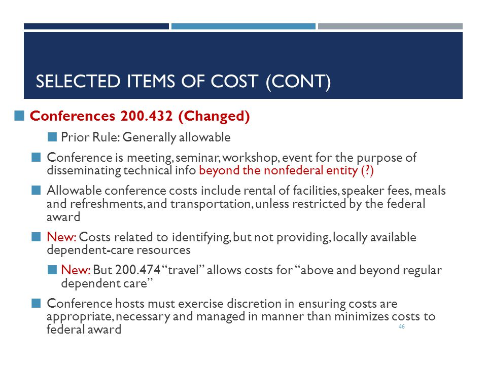 Selected Items of Cost (cont)