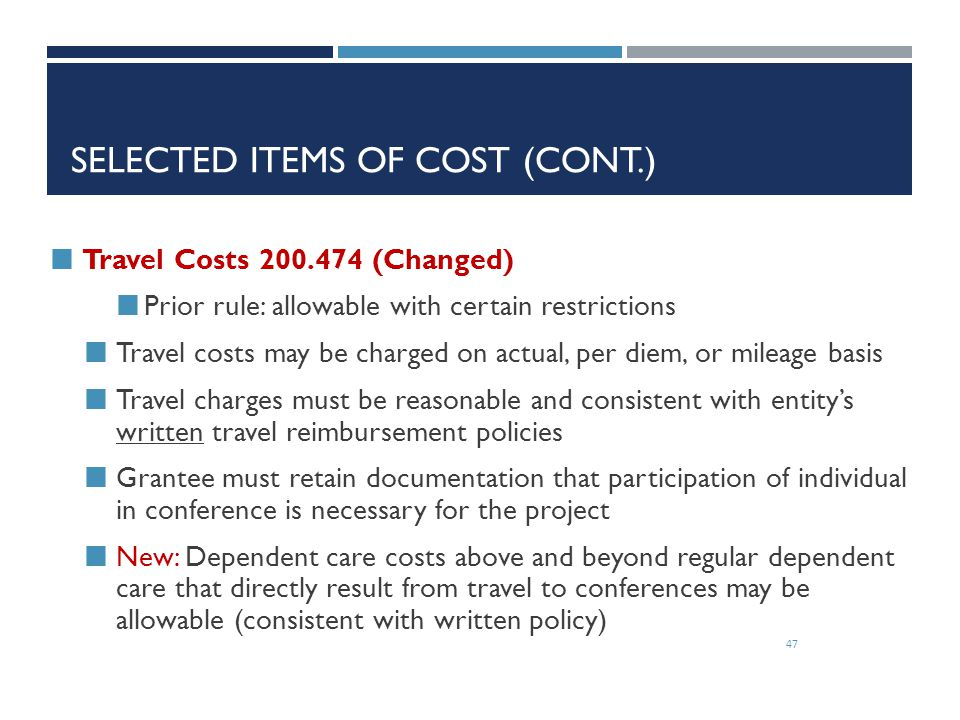 Selected Items of Cost (cont.)
