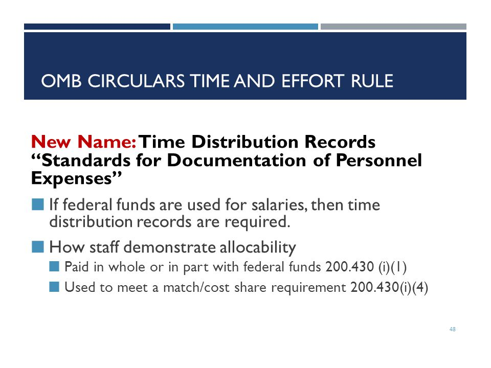 OMB Circulars Time and Effort Rule