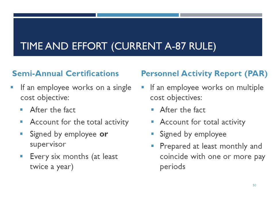 Time and effort (Current A-87 Rule)