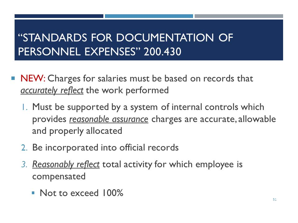 Standards for Documentation of Personnel Expenses 200.430
