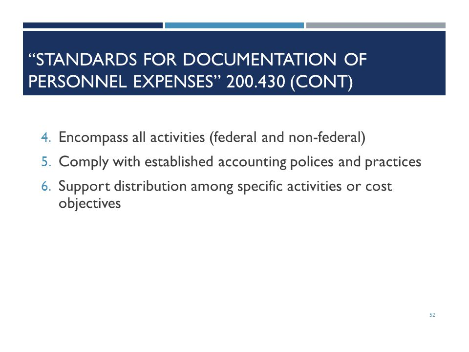 Standards for Documentation of Personnel Expenses 200.430 (cont)