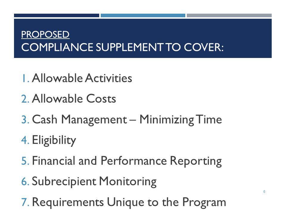 Proposed Compliance Supplement to Cover: