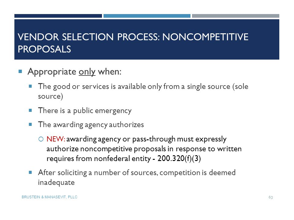 Vendor Selection Process: Noncompetitive Proposals