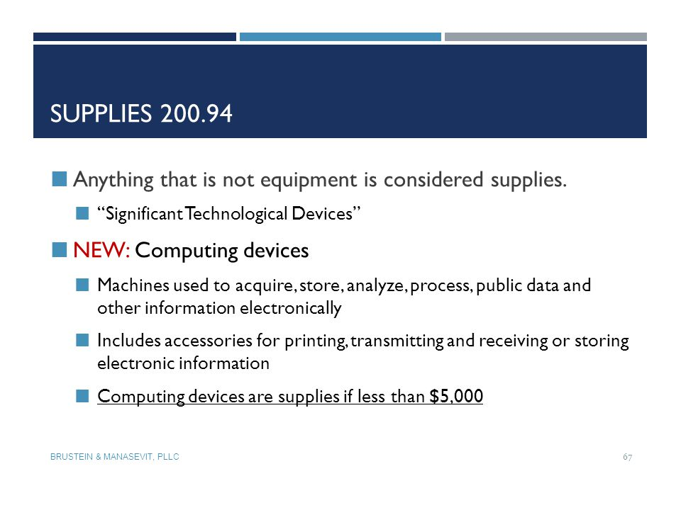 Supplies 200.94 Anything that is not equipment is considered supplies.