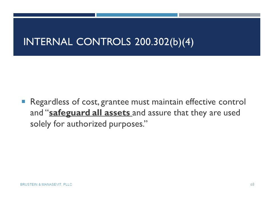 Internal Controls 200.302(b)(4)