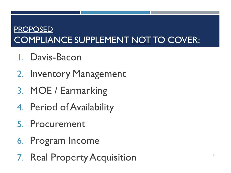 Proposed Compliance Supplement Not to Cover: