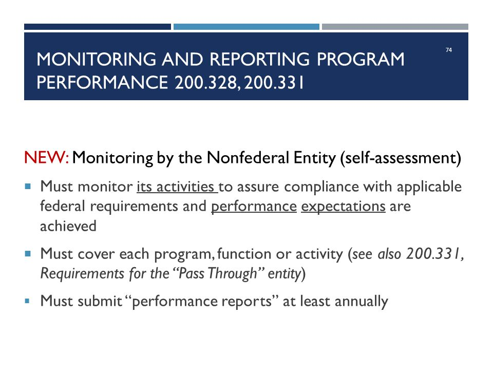 Monitoring and reporting program performance 200.328, 200.331