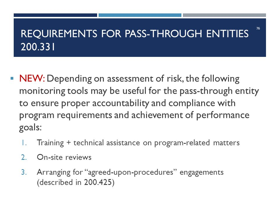 Requirements for pass-through Entities 200.331