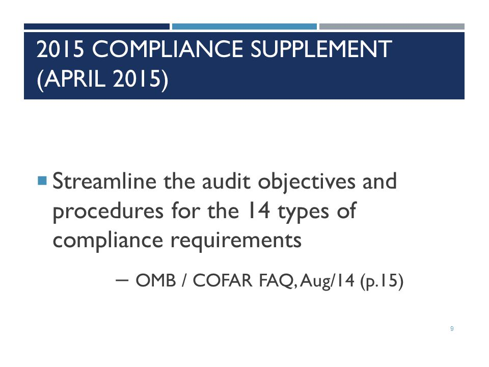 2015 Compliance Supplement (April 2015)