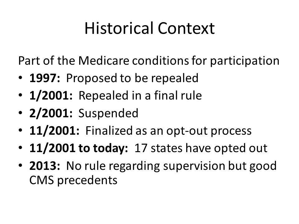 Historical Context Part of the Medicare conditions for participation