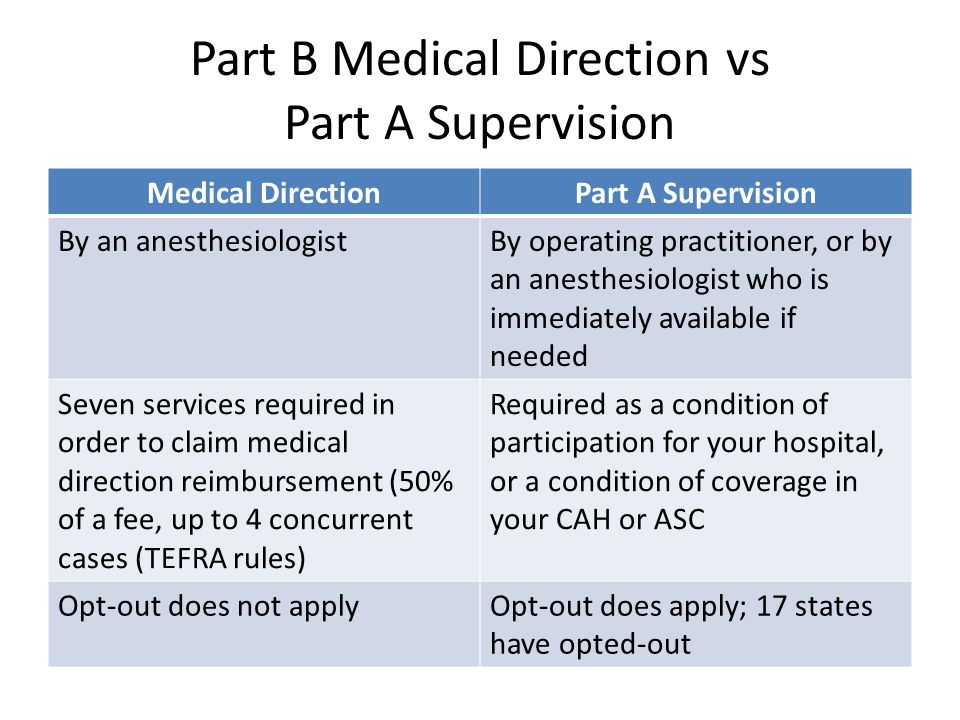 Part B Medical Direction vs Part A Supervision