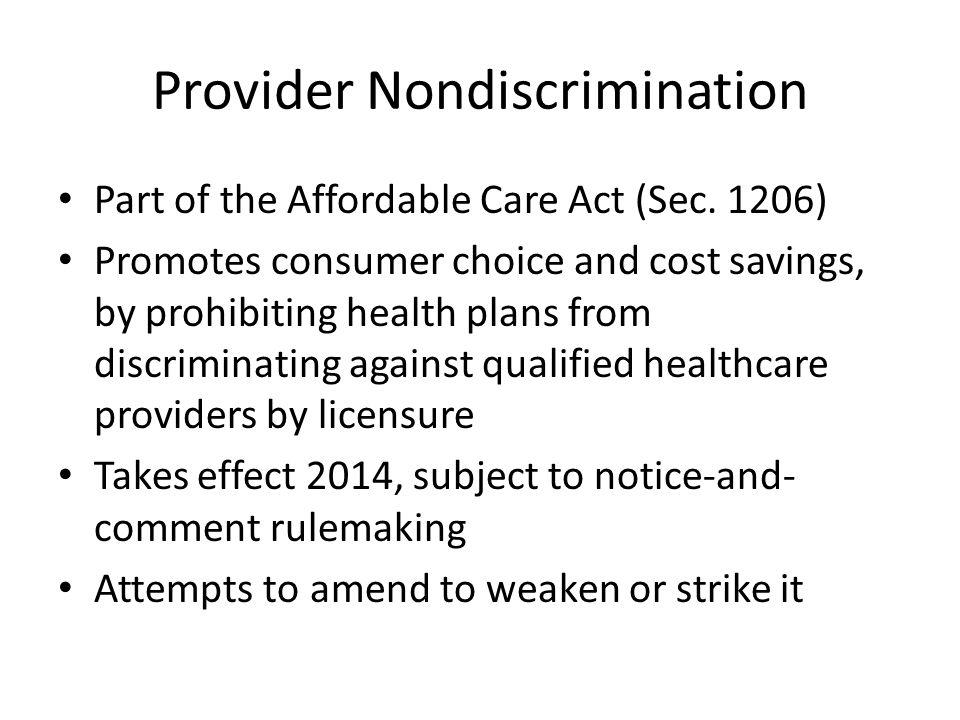 Provider Nondiscrimination