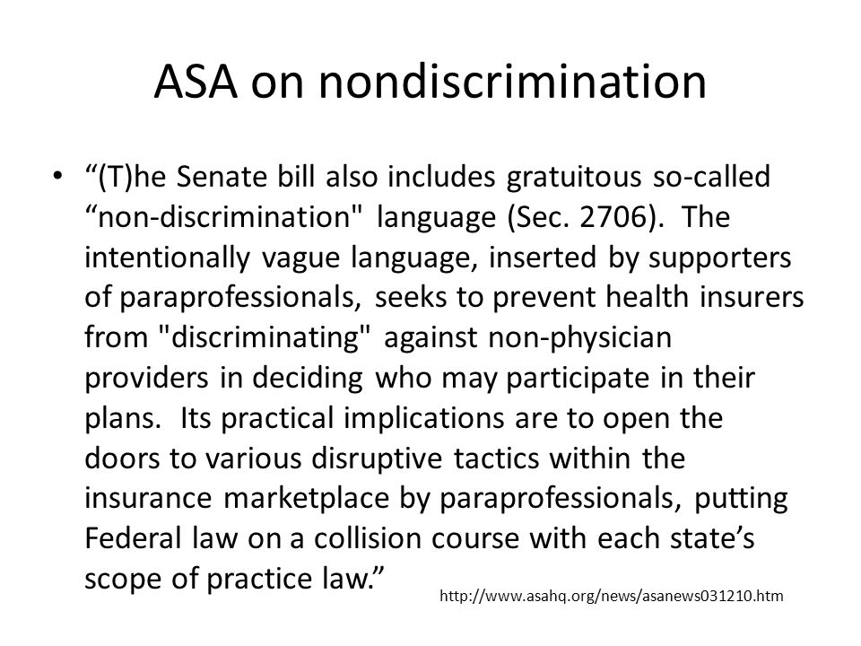ASA on nondiscrimination