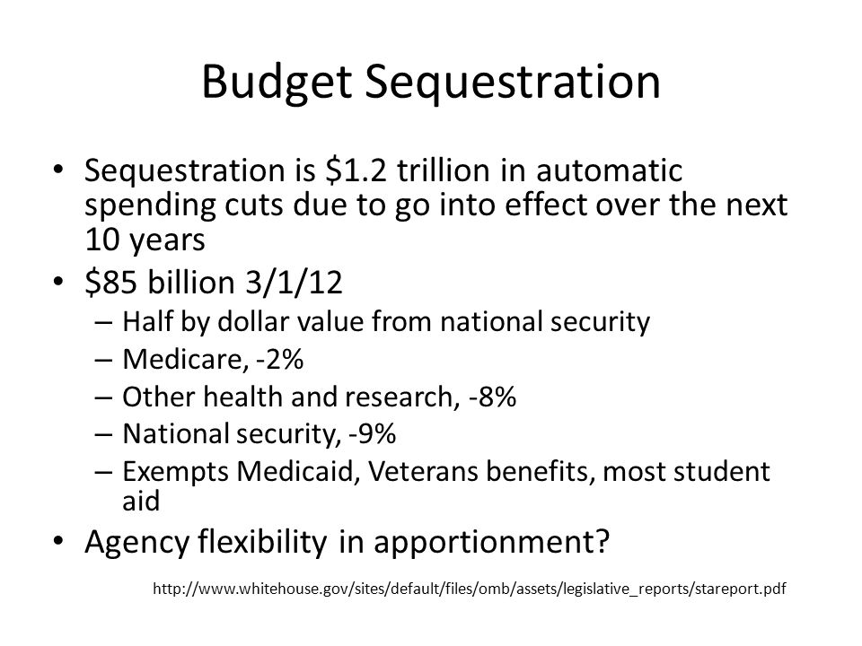 Budget Sequestration Sequestration is $1.2 trillion in automatic spending cuts due to go into effect over the next 10 years.