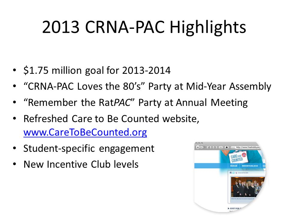 2013 CRNA-PAC Highlights $1.75 million goal for 2013-2014