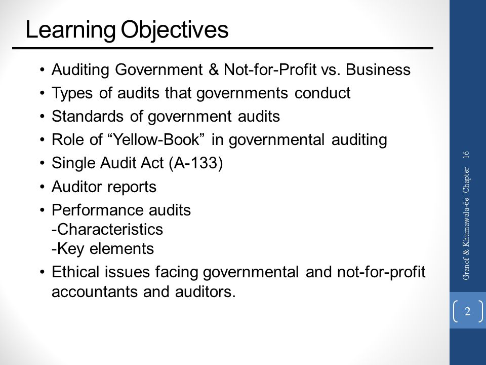Learning Objectives Auditing Government & Not-for-Profit vs. Business