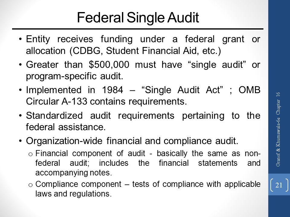 Federal Single Audit Entity receives funding under a federal grant or allocation (CDBG, Student Financial Aid, etc.)