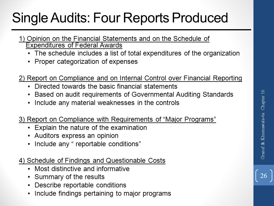 Single Audits: Four Reports Produced