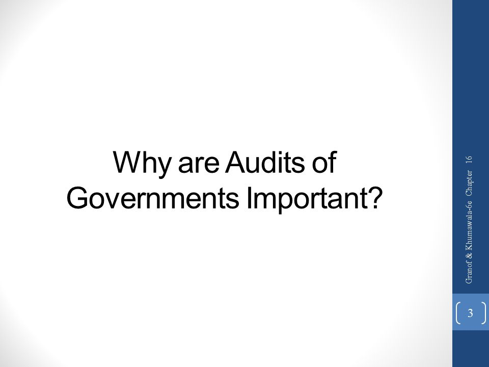 Why are Audits of Governments Important