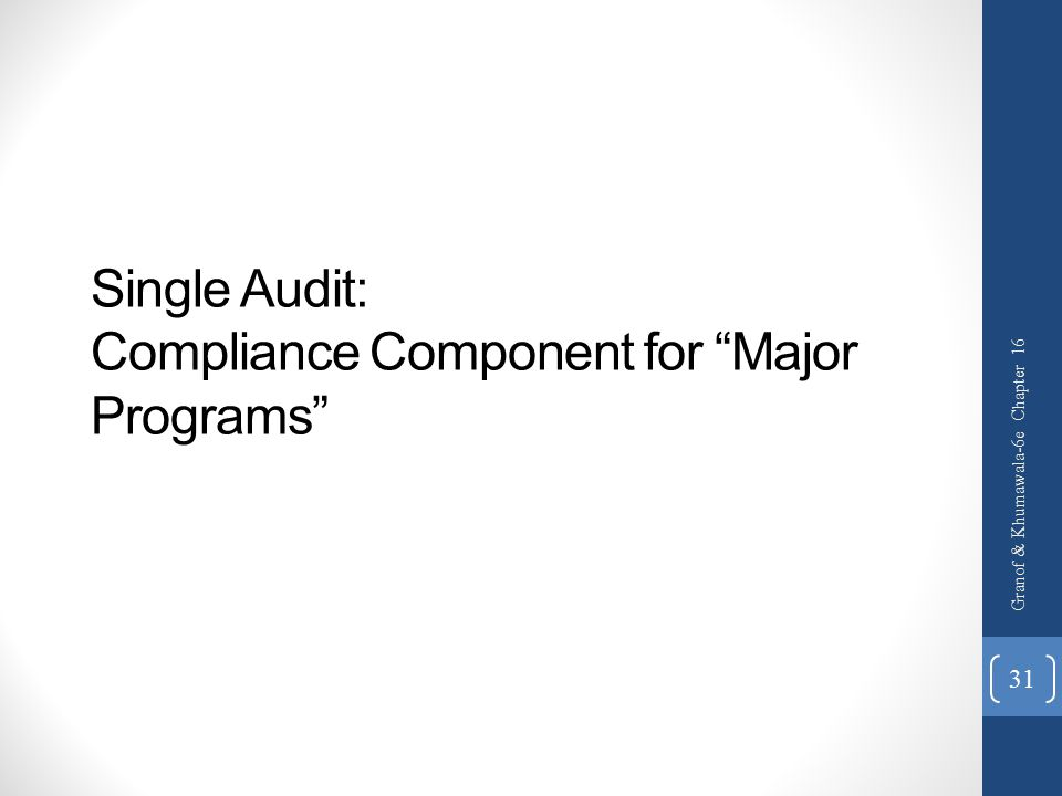 Single Audit: Compliance Component for Major Programs