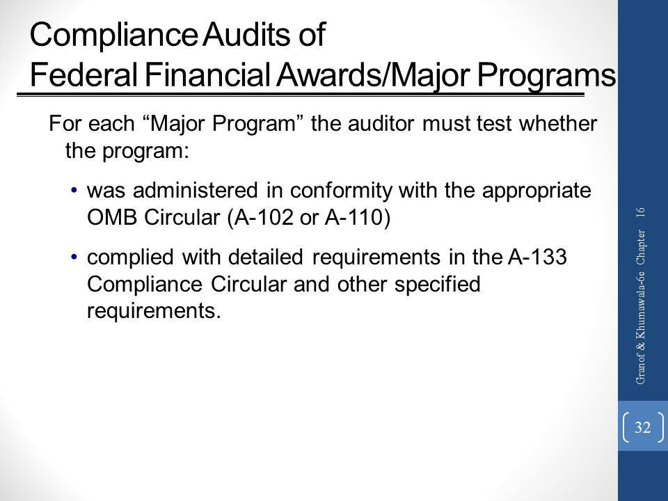 Compliance Audits of Federal Financial Awards/Major Programs