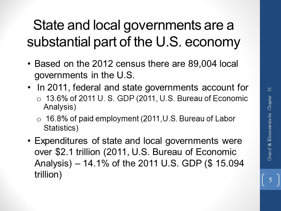 State and local governments are a substantial part of the U.S. economy