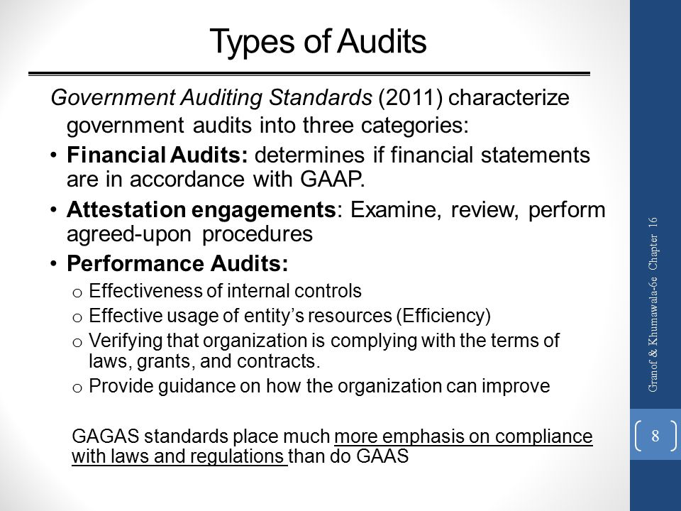 Types of Audits Government Auditing Standards (2011) characterize government audits into three categories: